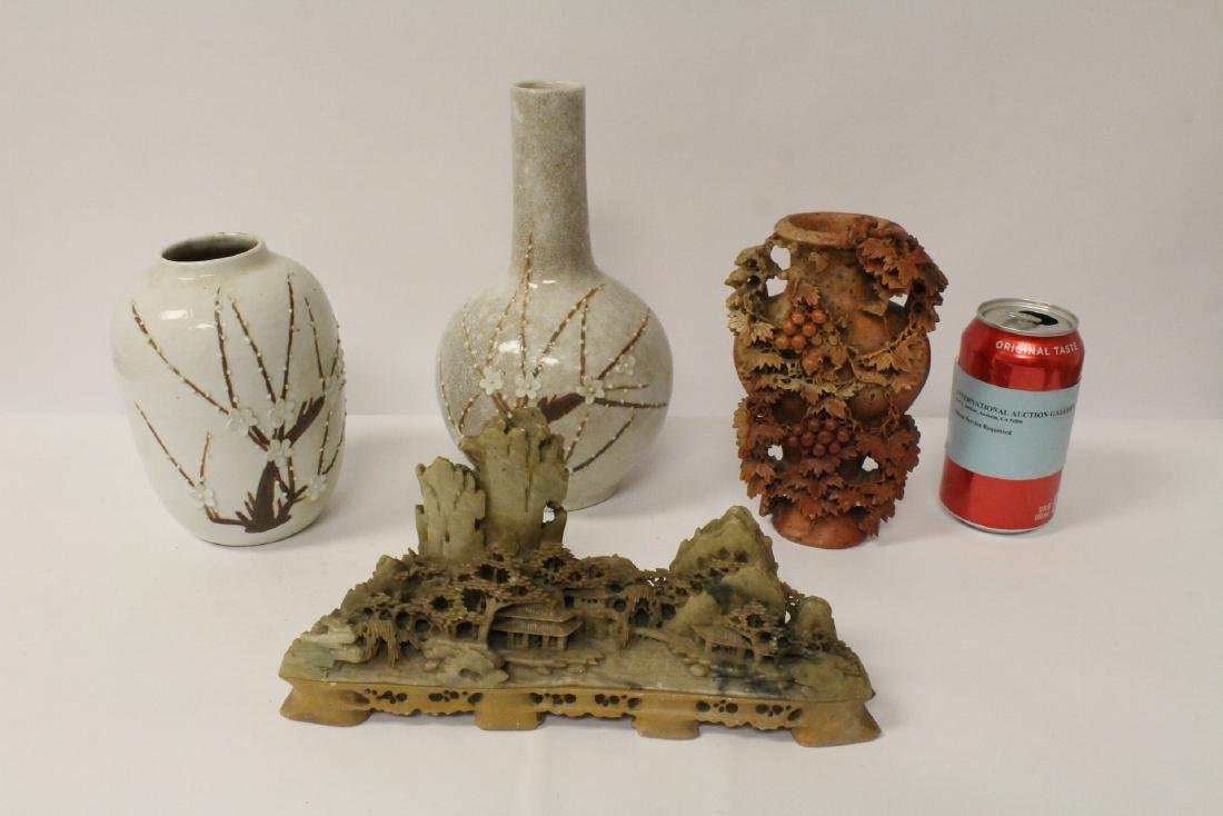 2 Chinese shoushan stone carvings & 2 porcelain vases