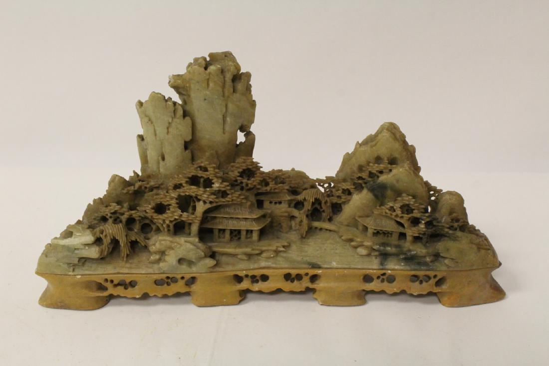 2 Chinese shoushan stone carvings & 2 porcelain vases - 6