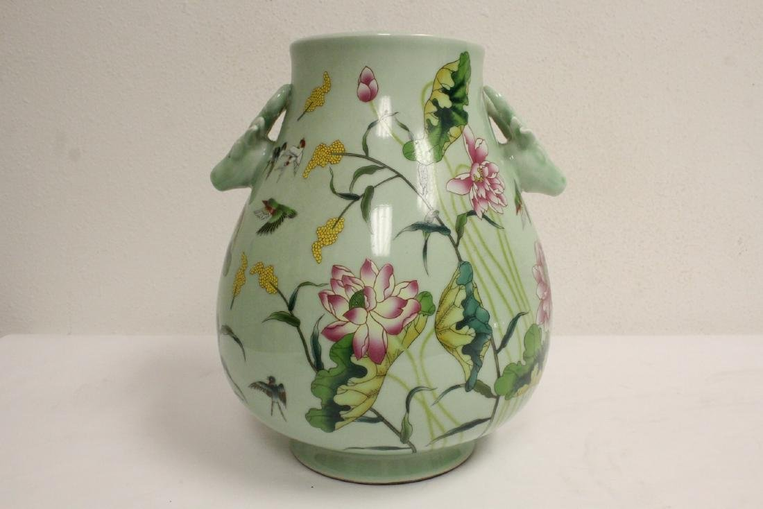 Chinese green background famille rose porcelain jar