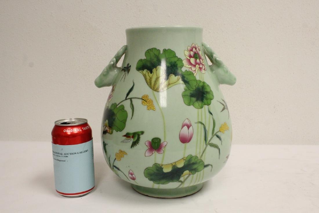 Chinese green background famille rose porcelain jar - 3