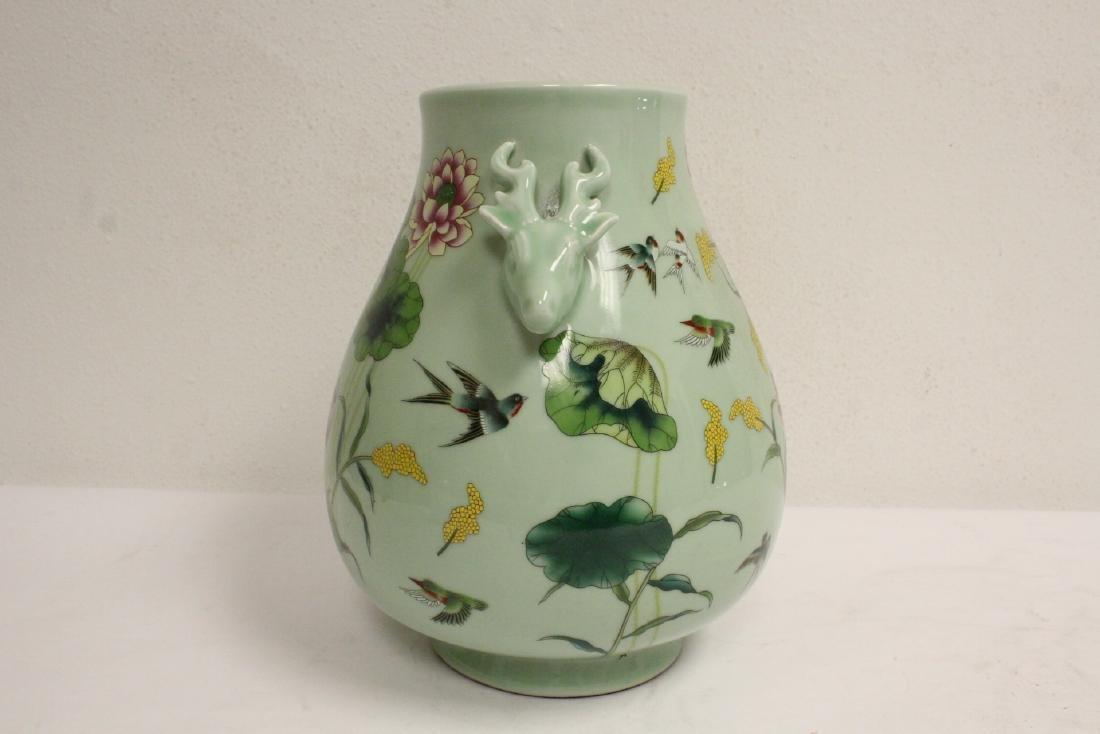 Chinese green background famille rose porcelain jar - 4