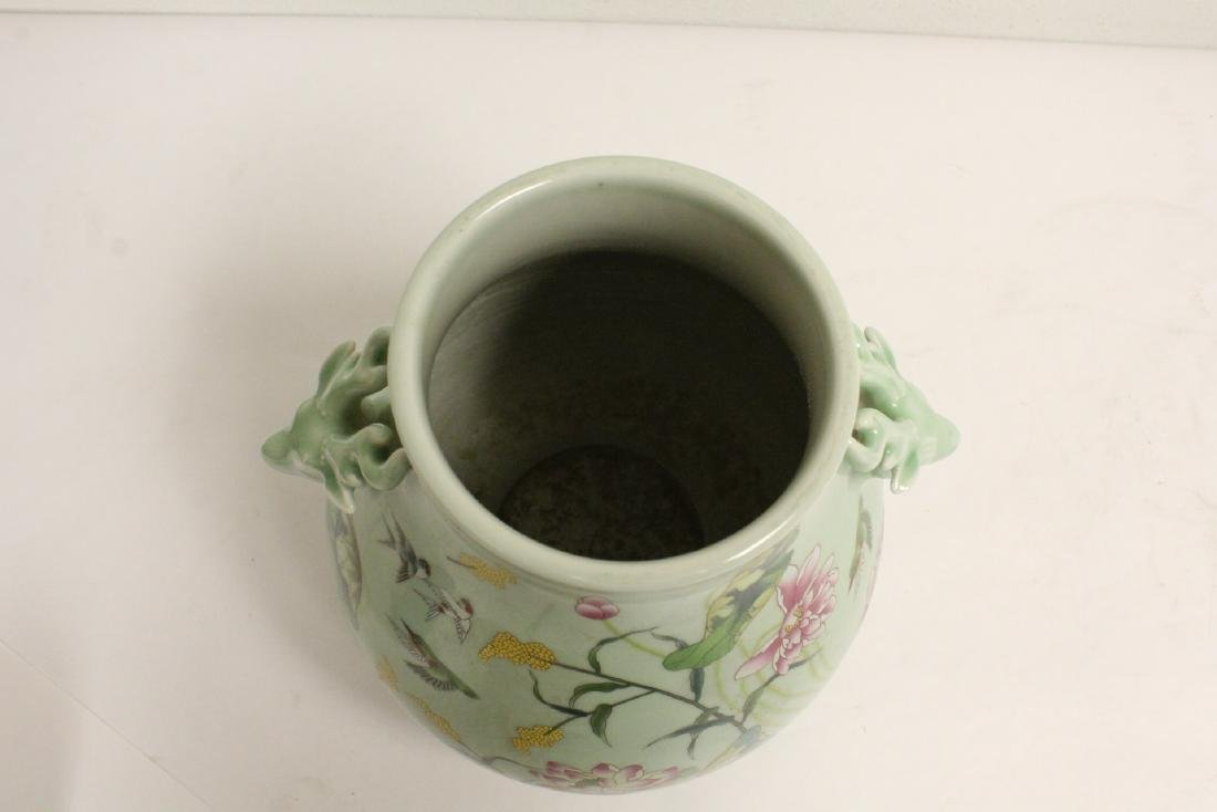 Chinese green background famille rose porcelain jar - 5