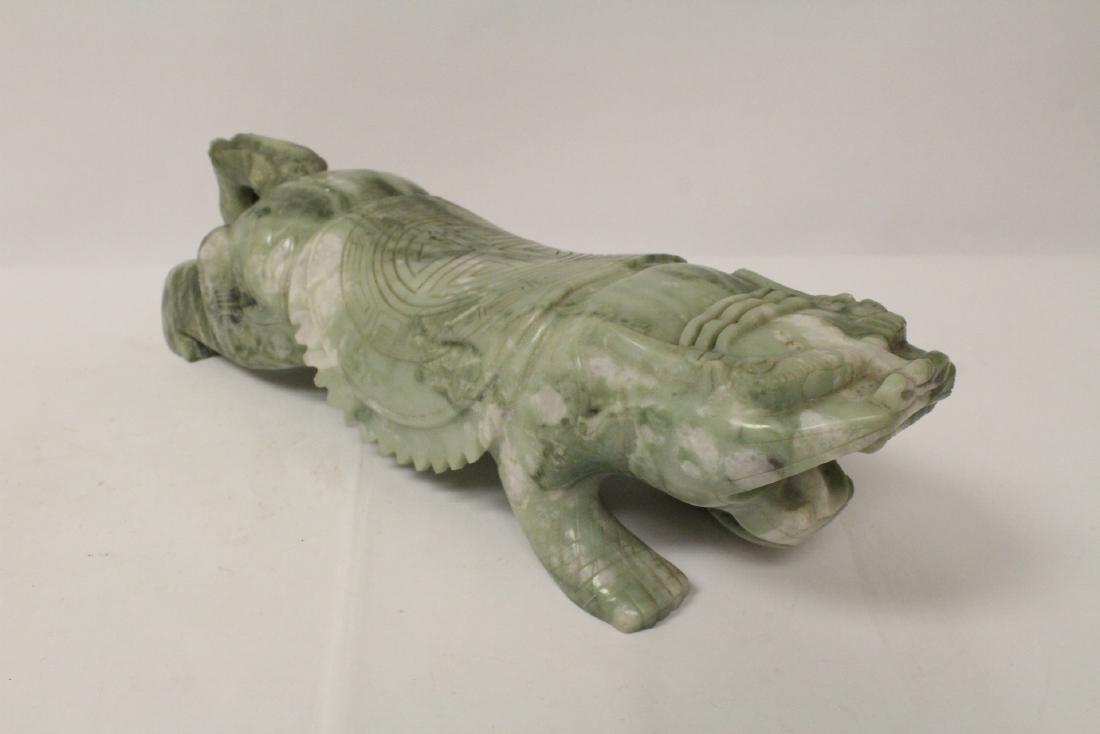 Jade like stone carved qilin - 6