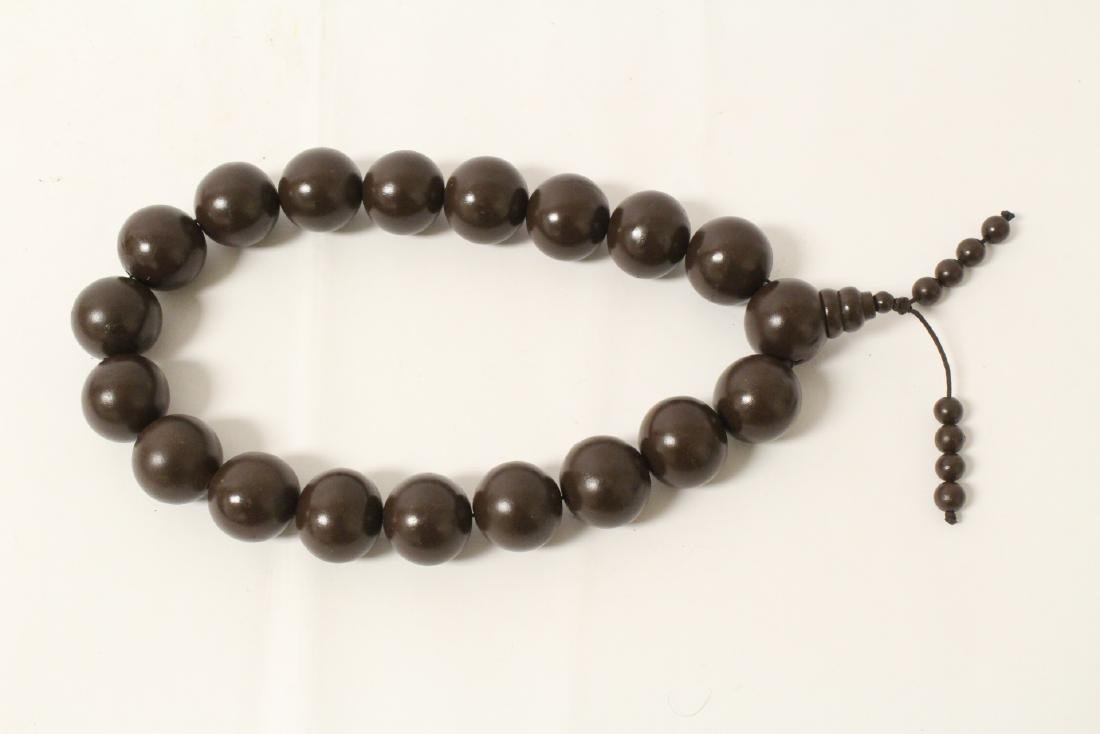 Large wood bead necklace and 2 bracelets - 5