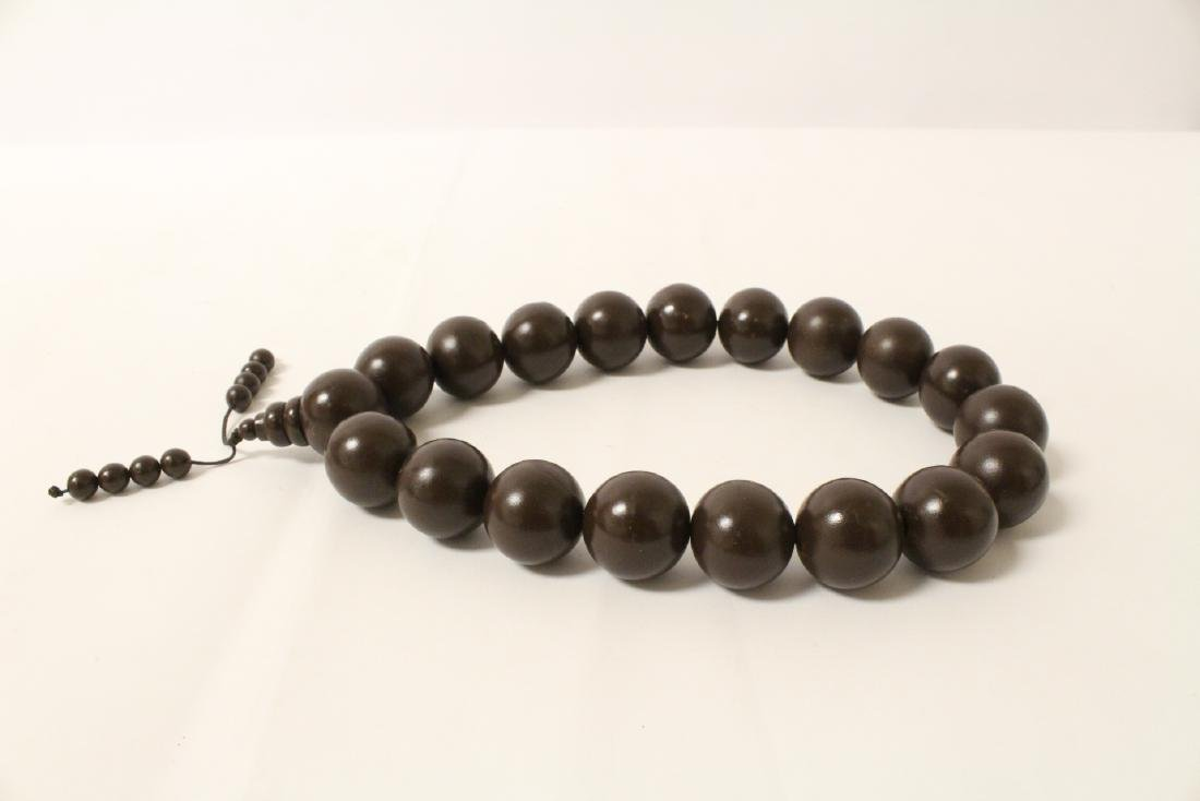 Large wood bead necklace and 2 bracelets - 6