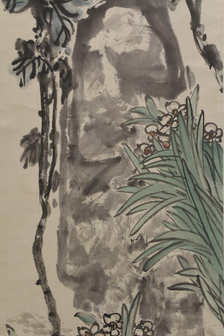 Chinese watercolor scroll depicting flowers - 3