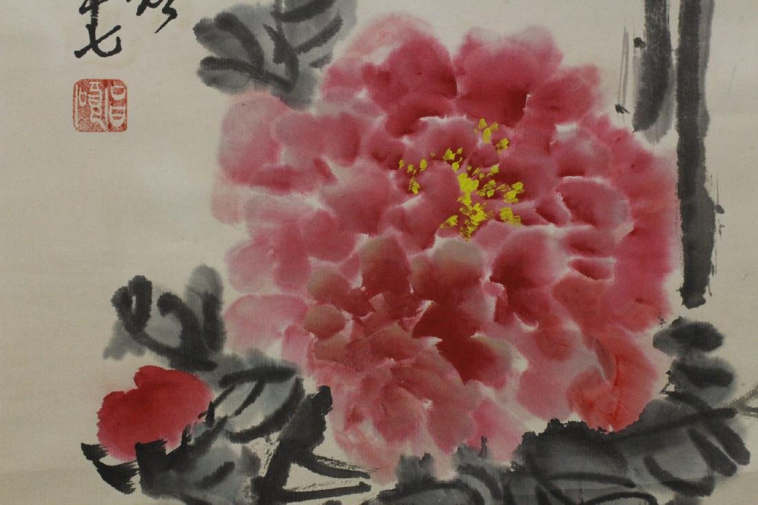 Chinese watercolor scroll depicting flowers - 8