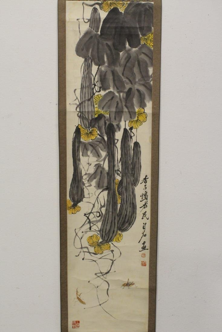 Chinese watercolor scroll depicting melon