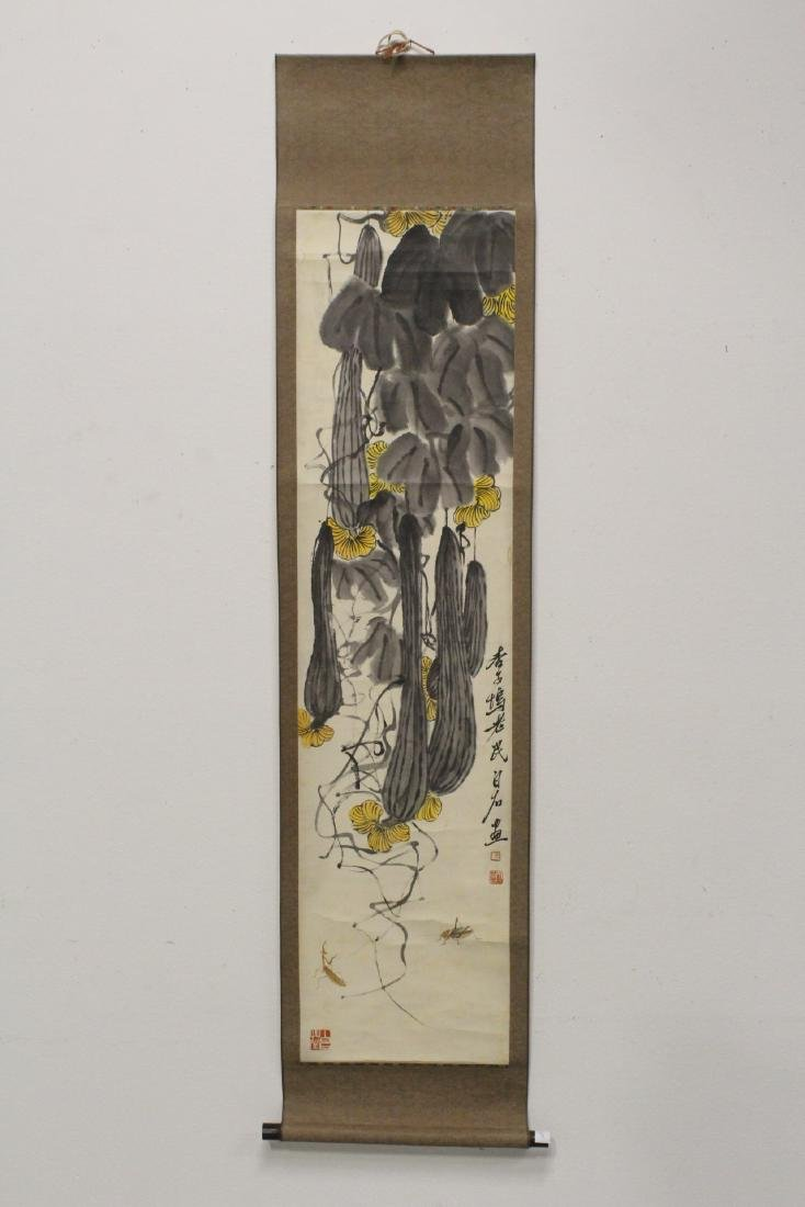 Chinese watercolor scroll depicting melon - 2