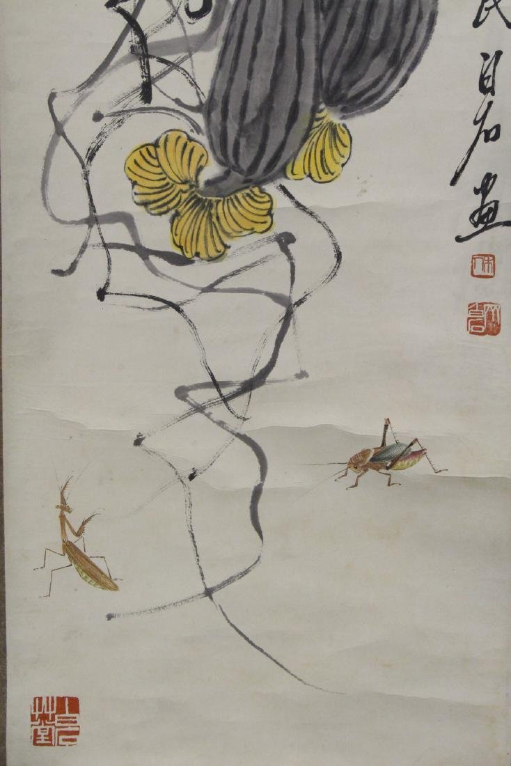 Chinese watercolor scroll depicting melon - 3