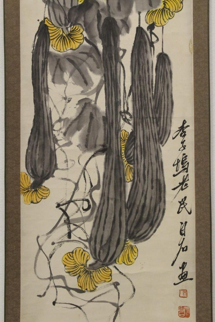 Chinese watercolor scroll depicting melon - 4