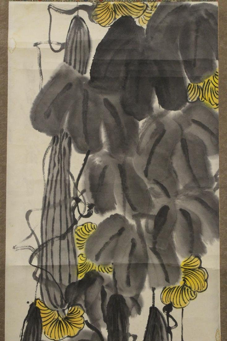 Chinese watercolor scroll depicting melon - 5