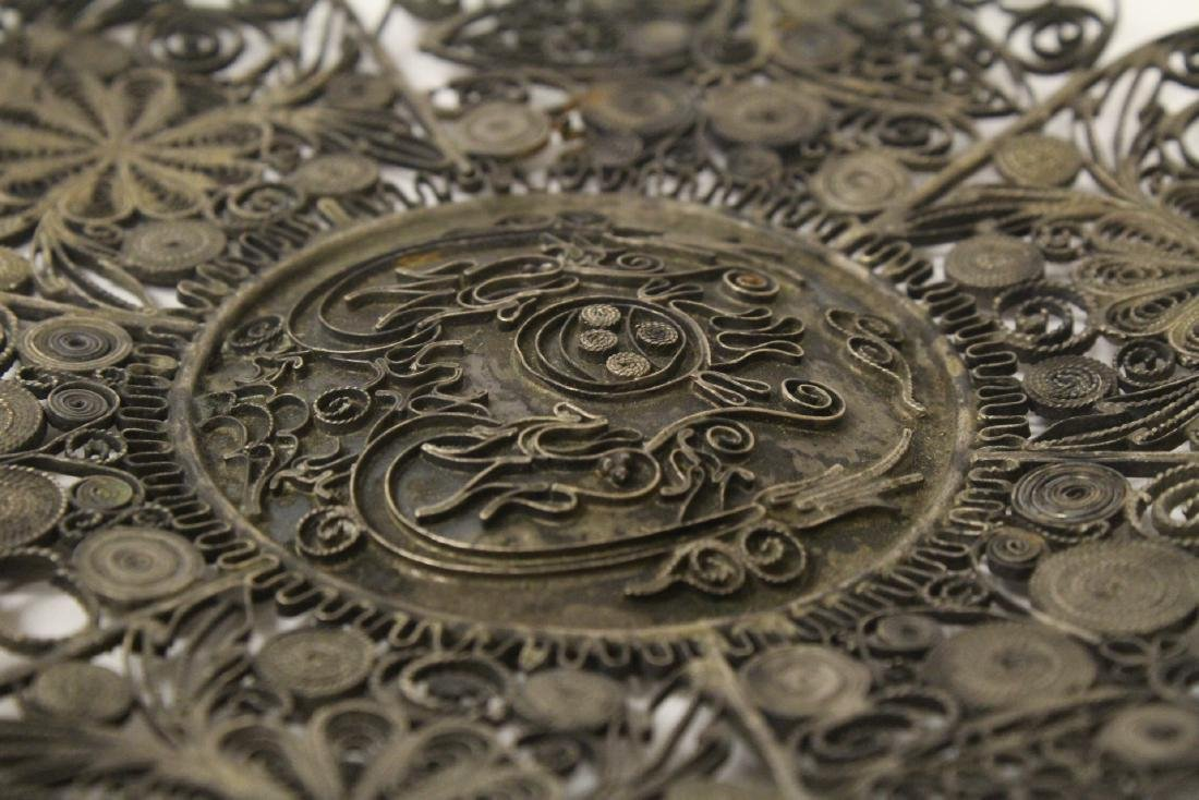 Chinese antique filigree silver plate - 11