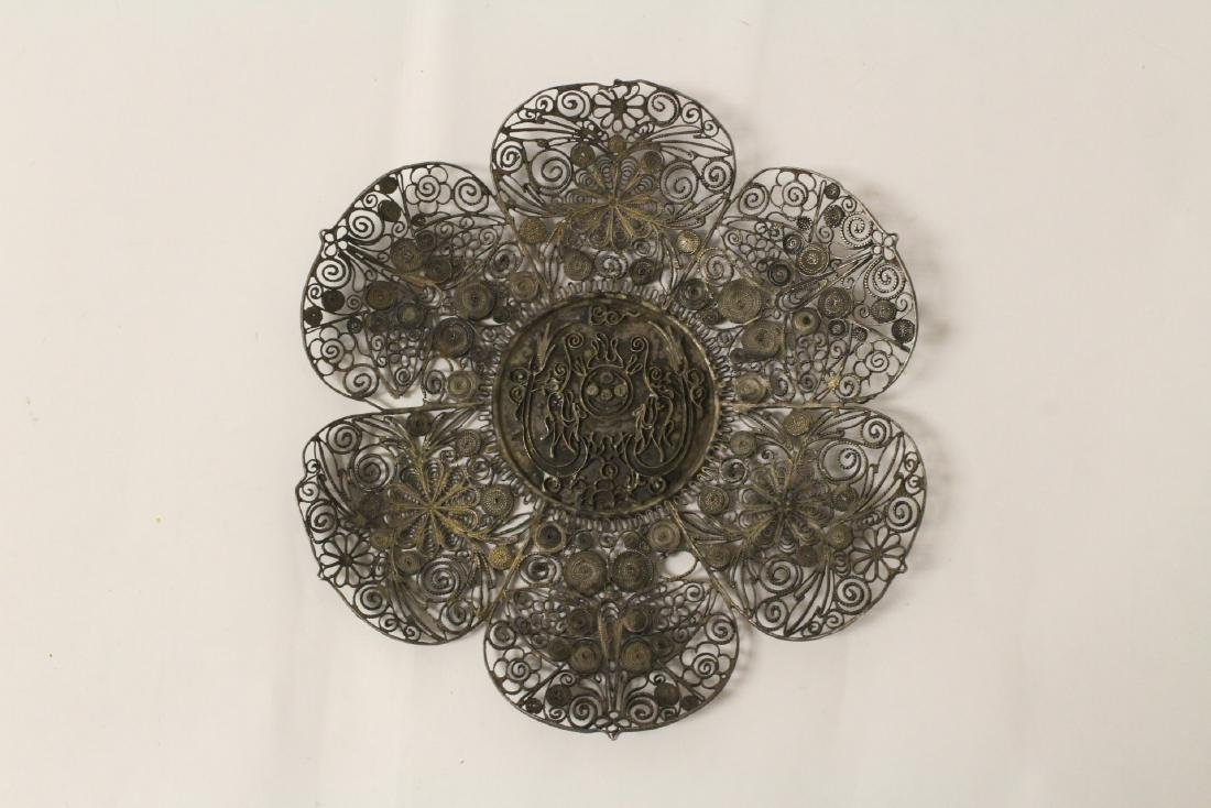 Chinese antique filigree silver plate