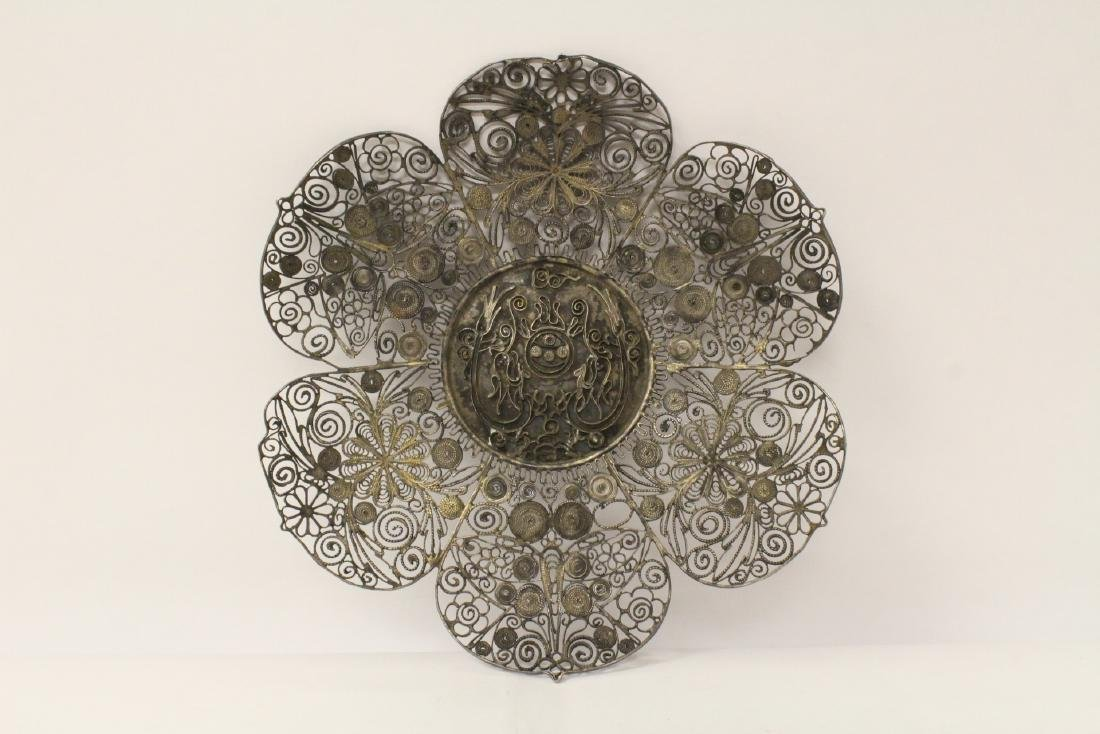 Chinese antique filigree silver plate - 2