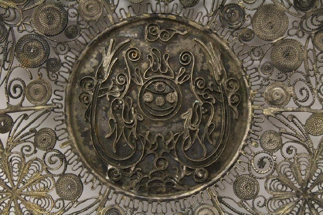 Chinese antique filigree silver plate - 3