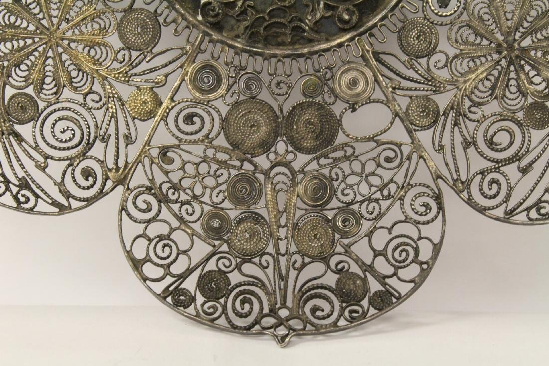 Chinese antique filigree silver plate - 4