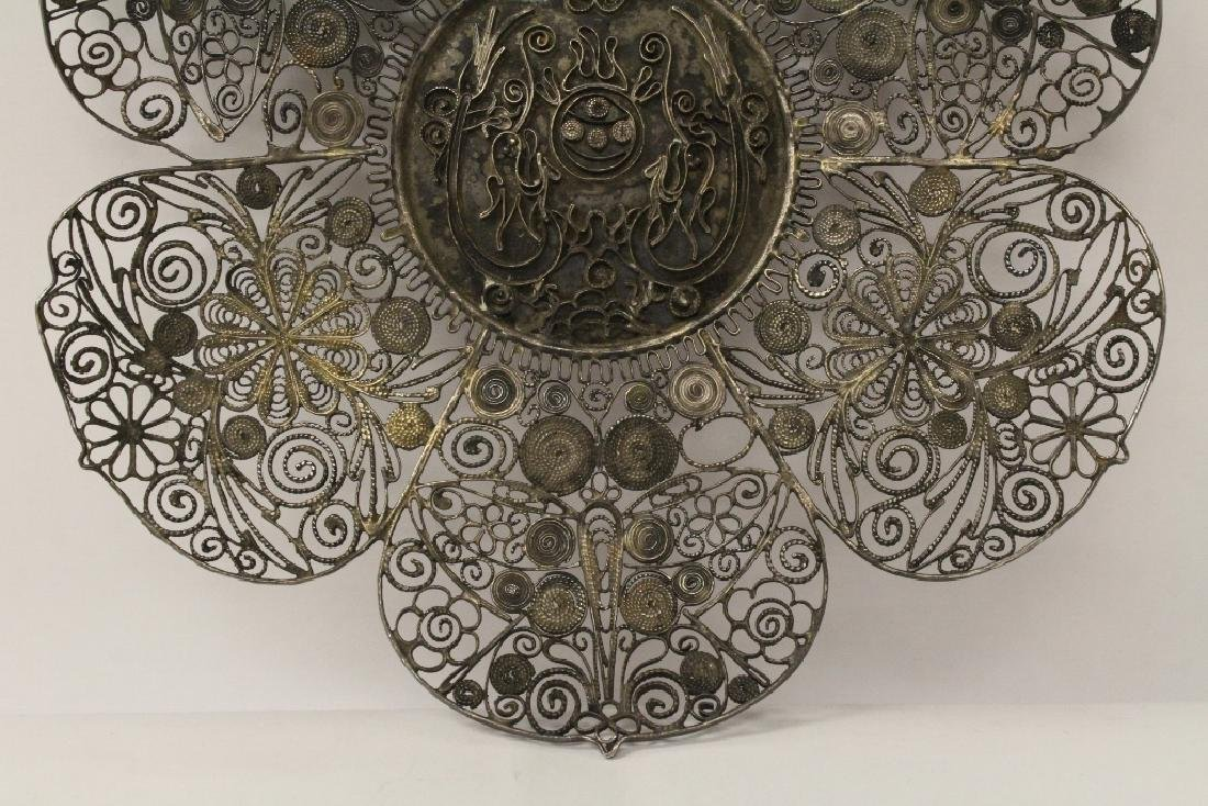 Chinese antique filigree silver plate - 5