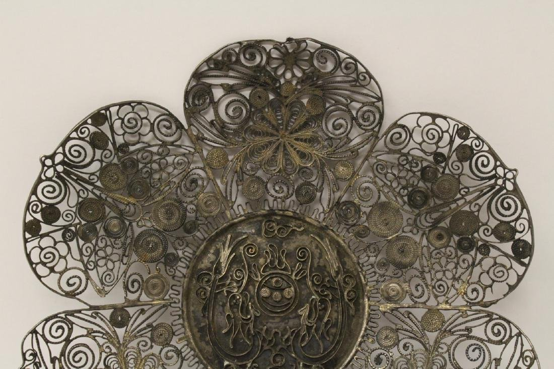 Chinese antique filigree silver plate - 6
