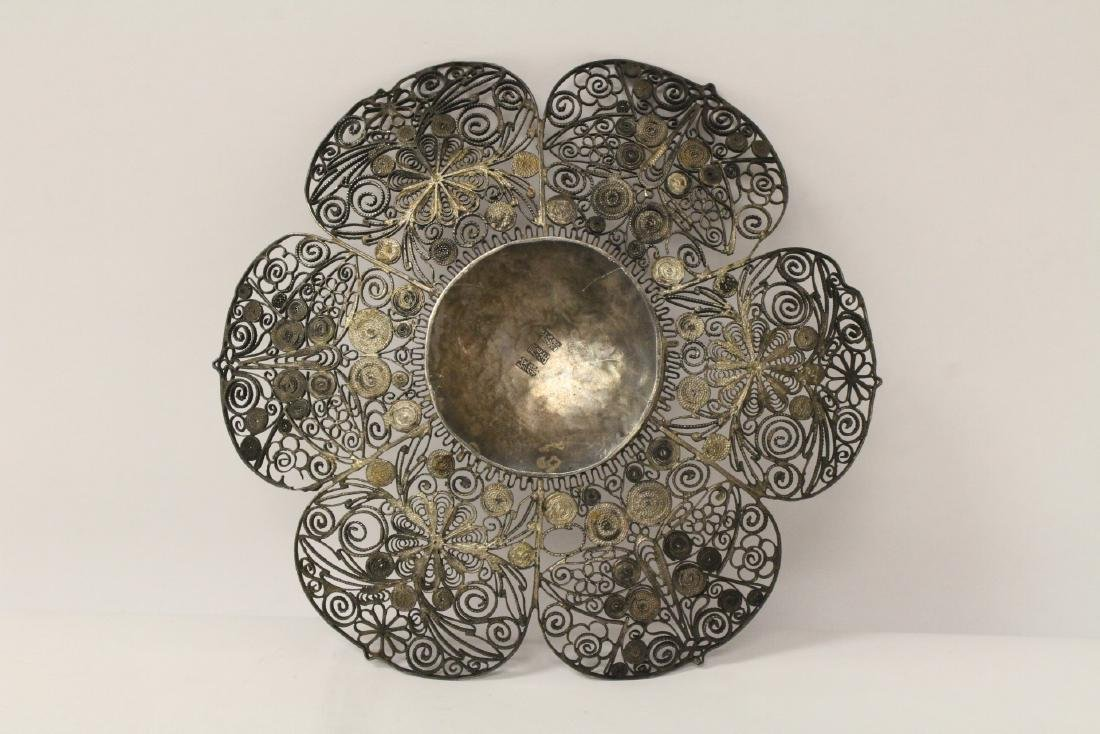 Chinese antique filigree silver plate - 9