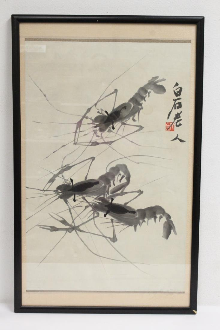 "Framed watercolor ""shrimp"""
