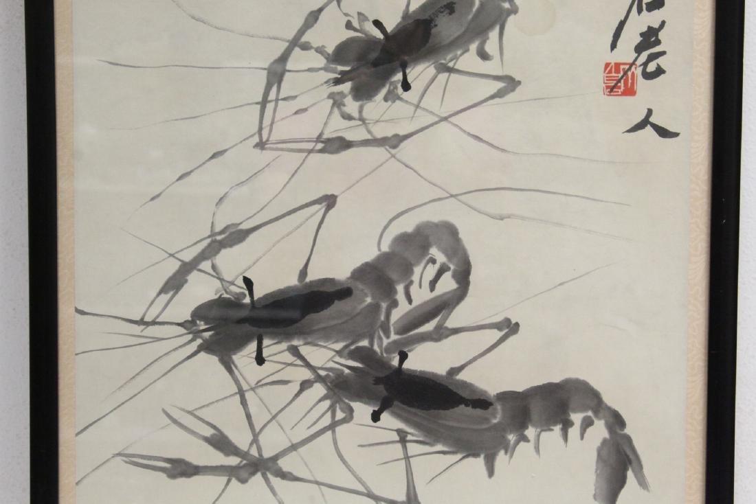 "Framed watercolor ""shrimp"" - 3"