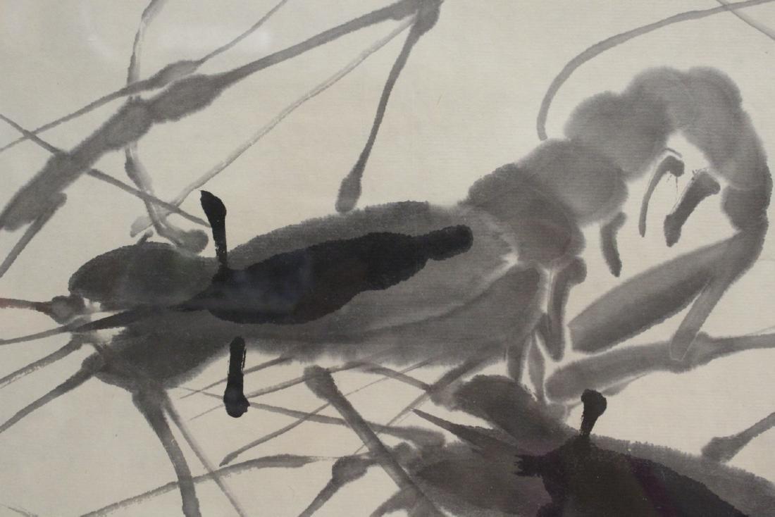 "Framed watercolor ""shrimp"" - 7"