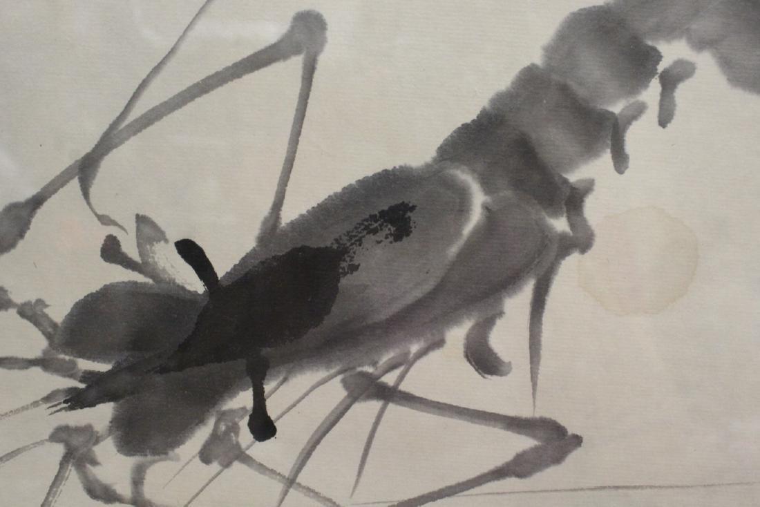 "Framed watercolor ""shrimp"" - 8"