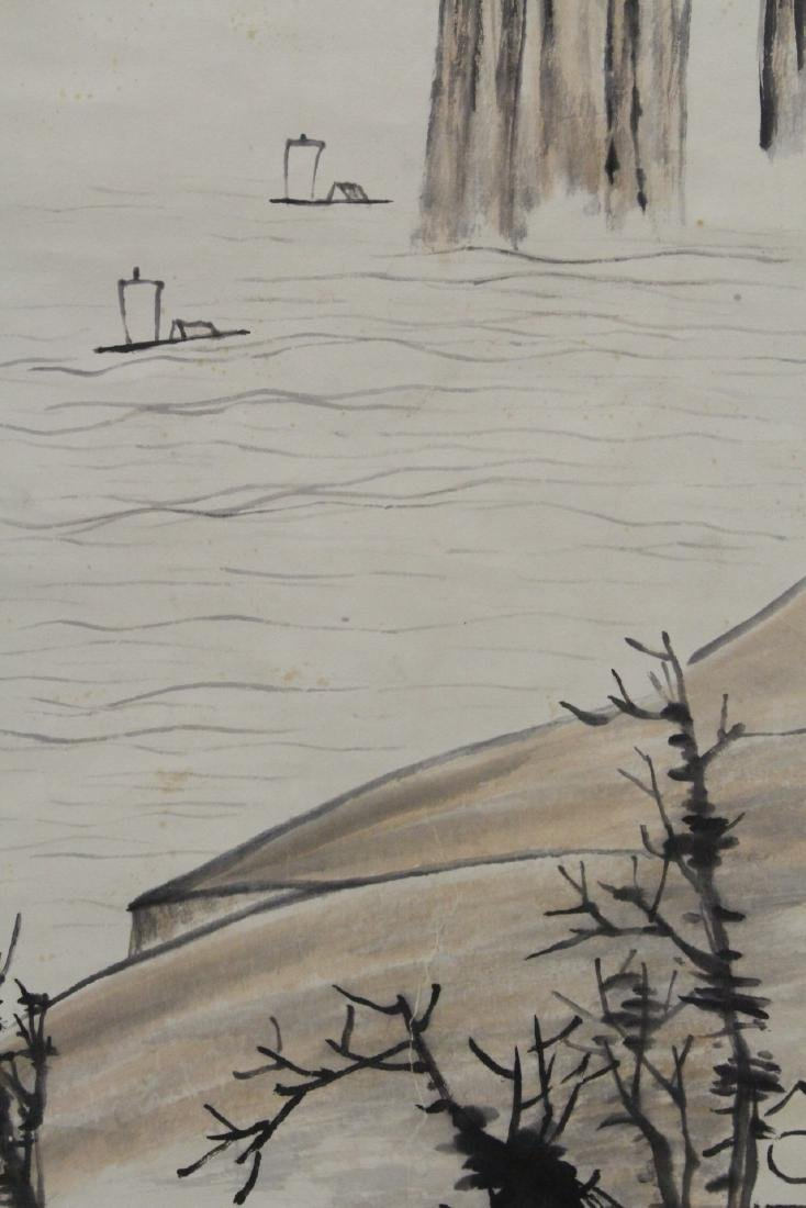 "Chinese watercolor scroll ""river scene"" - 4"