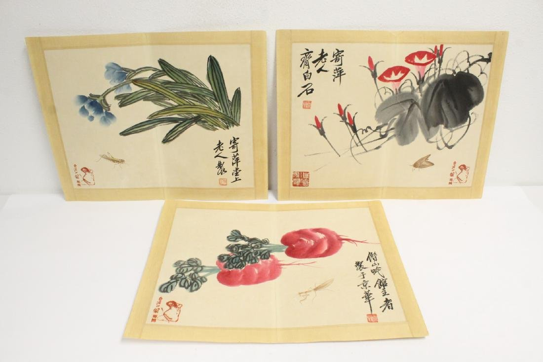 """3 watercolor panels """"fruit and flower"""""""