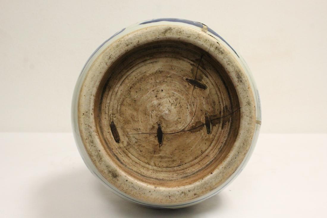 Chinese 18th c. or earlier lg b&w porcelain jar - 10