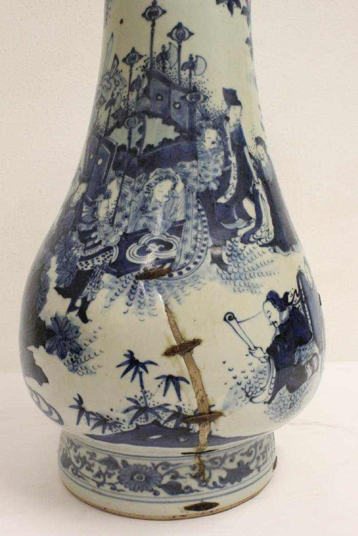 Chinese 18th c. or earlier lg b&w porcelain jar - 7