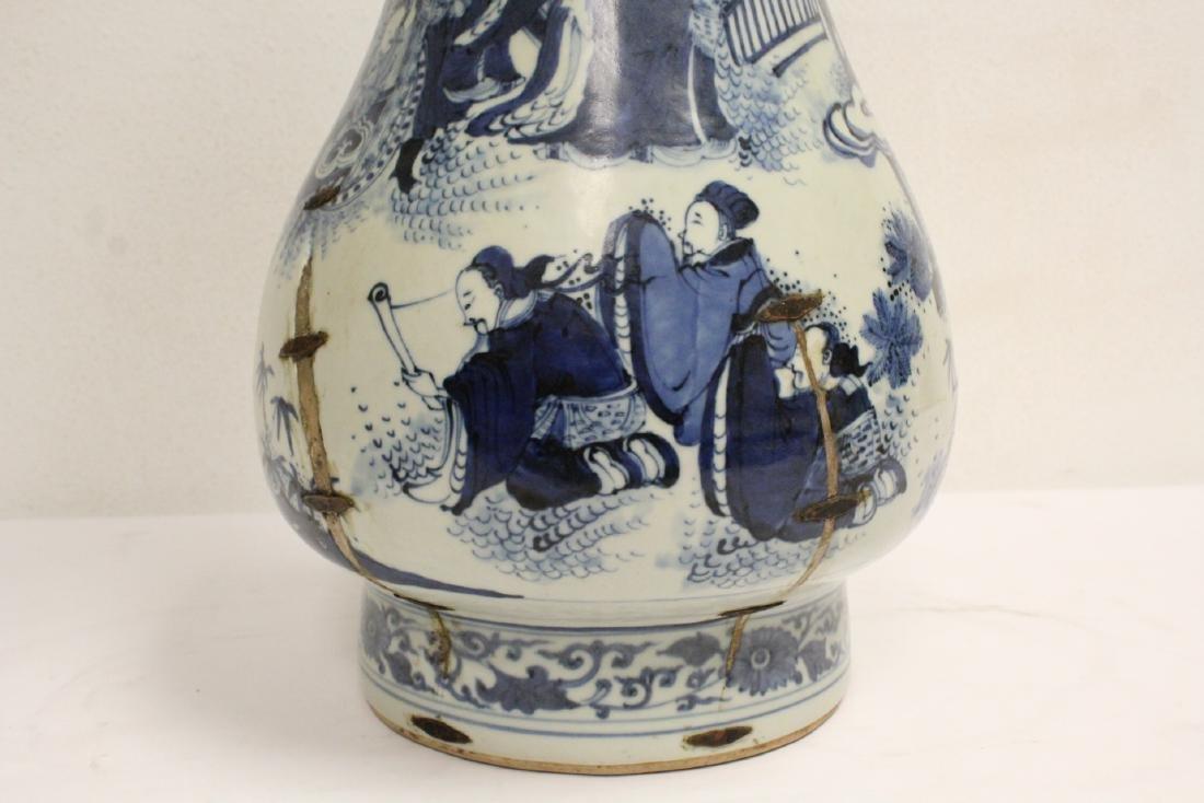 Chinese 18th c. or earlier lg b&w porcelain jar - 8