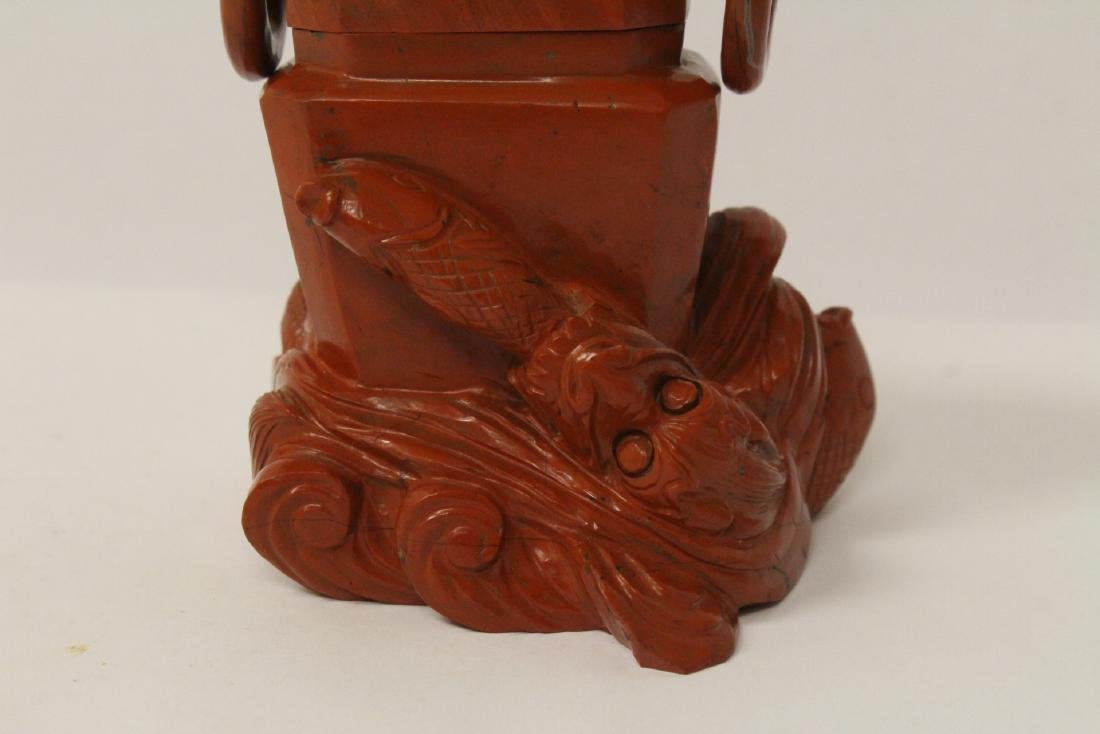 Chinese jasper stone carved covered censer - 2