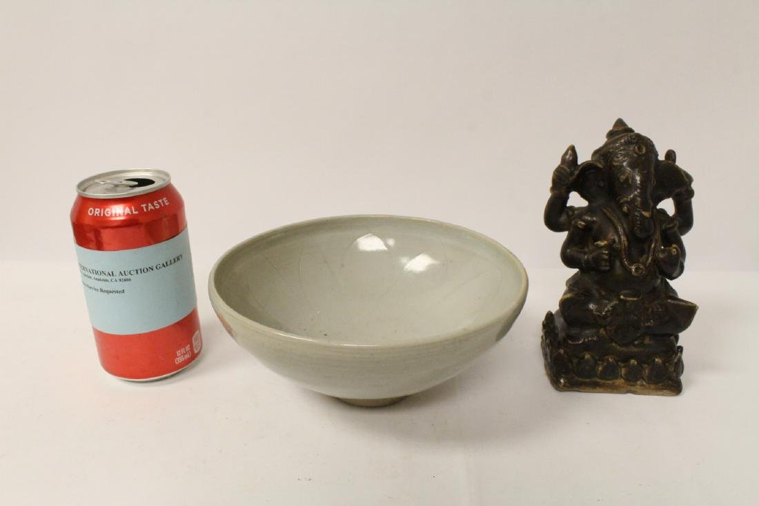 Chinese porcelain bowl, and a brown glazed Ganesha