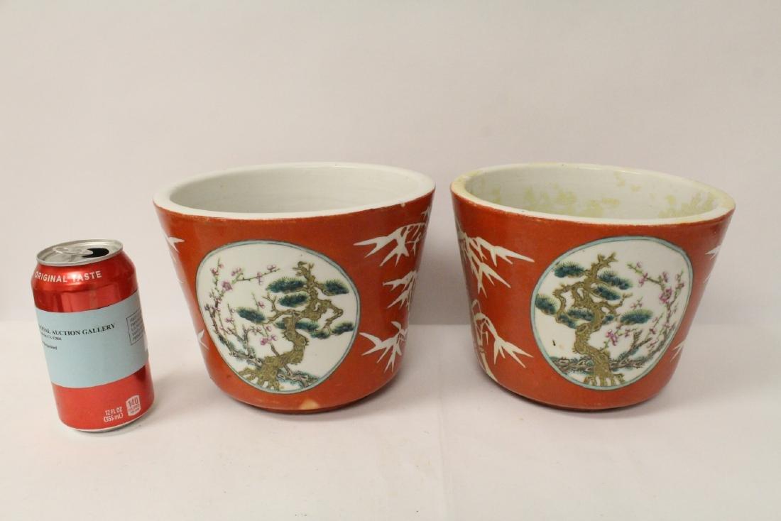 Pr Chinese antique famille rose porcelain planters