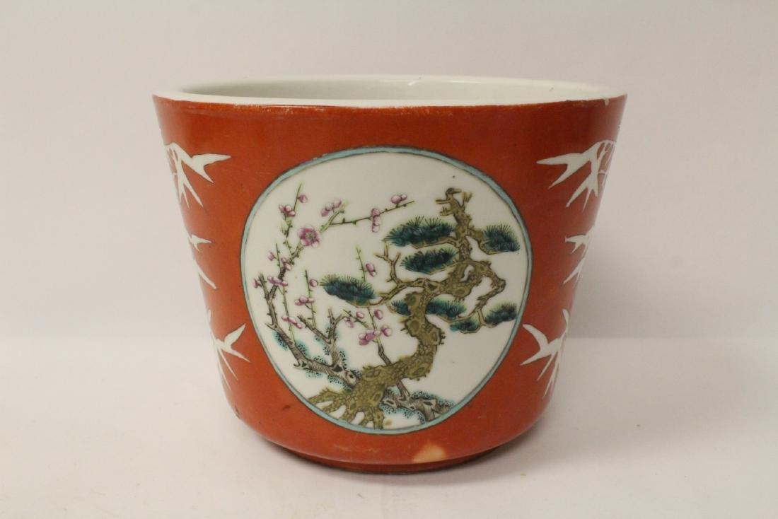 Pr Chinese antique famille rose porcelain planters - 2