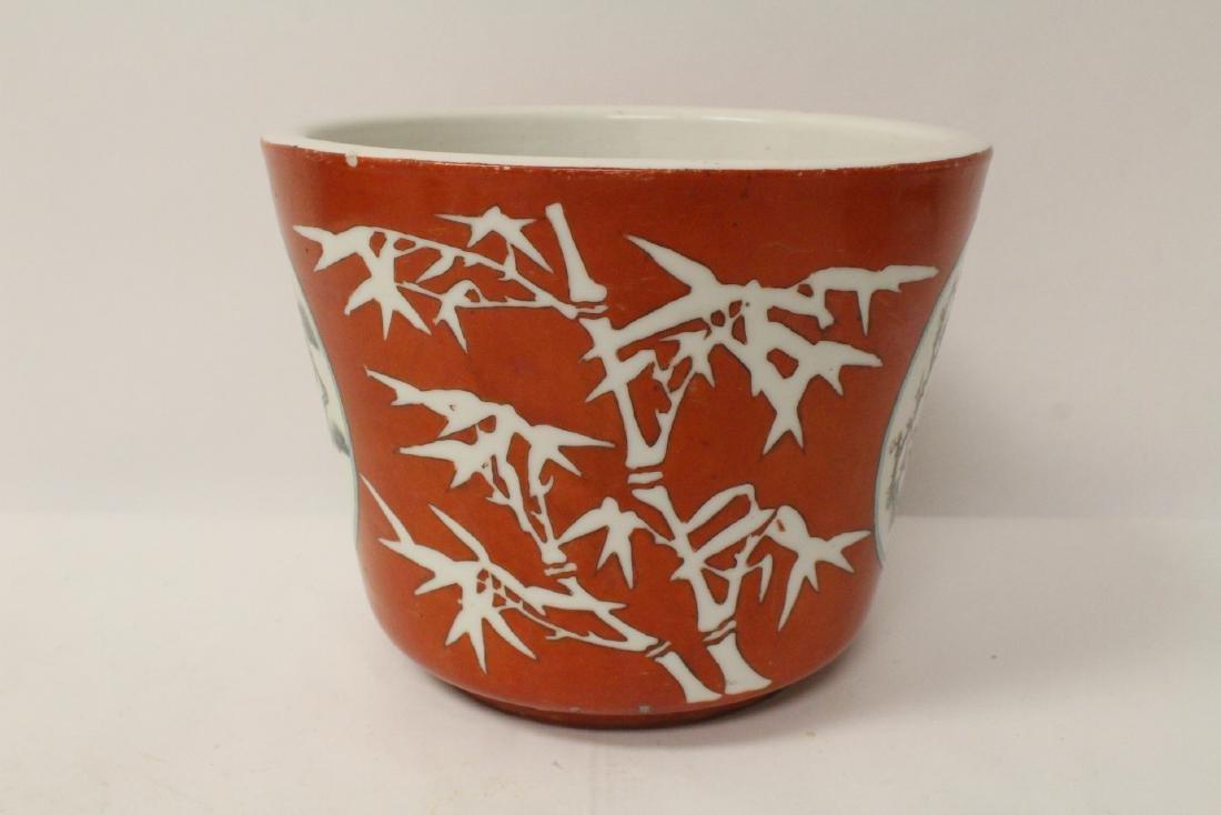 Pr Chinese antique famille rose porcelain planters - 3