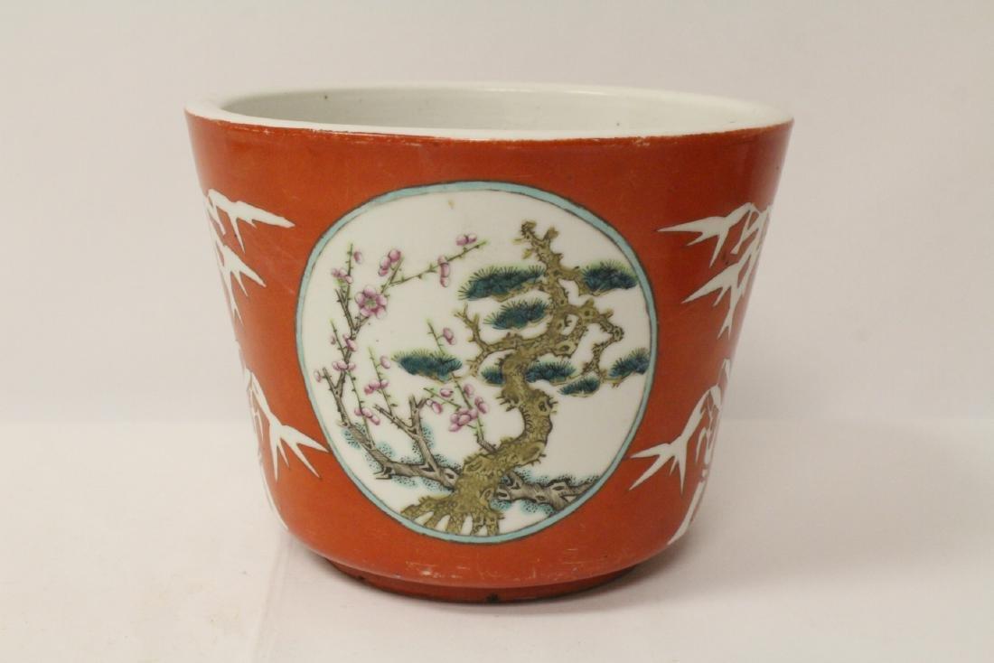 Pr Chinese antique famille rose porcelain planters - 4
