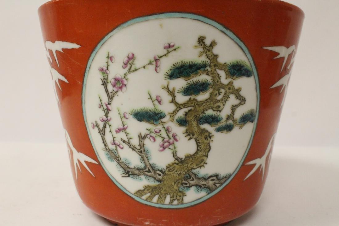 Pr Chinese antique famille rose porcelain planters - 5