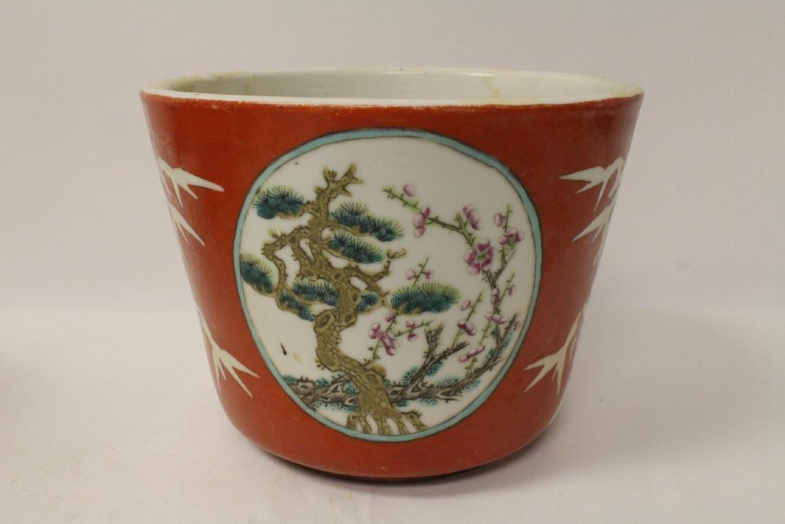 Pr Chinese antique famille rose porcelain planters - 6