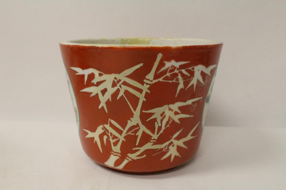 Pr Chinese antique famille rose porcelain planters - 7