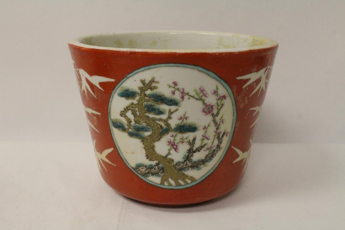 Pr Chinese antique famille rose porcelain planters - 8