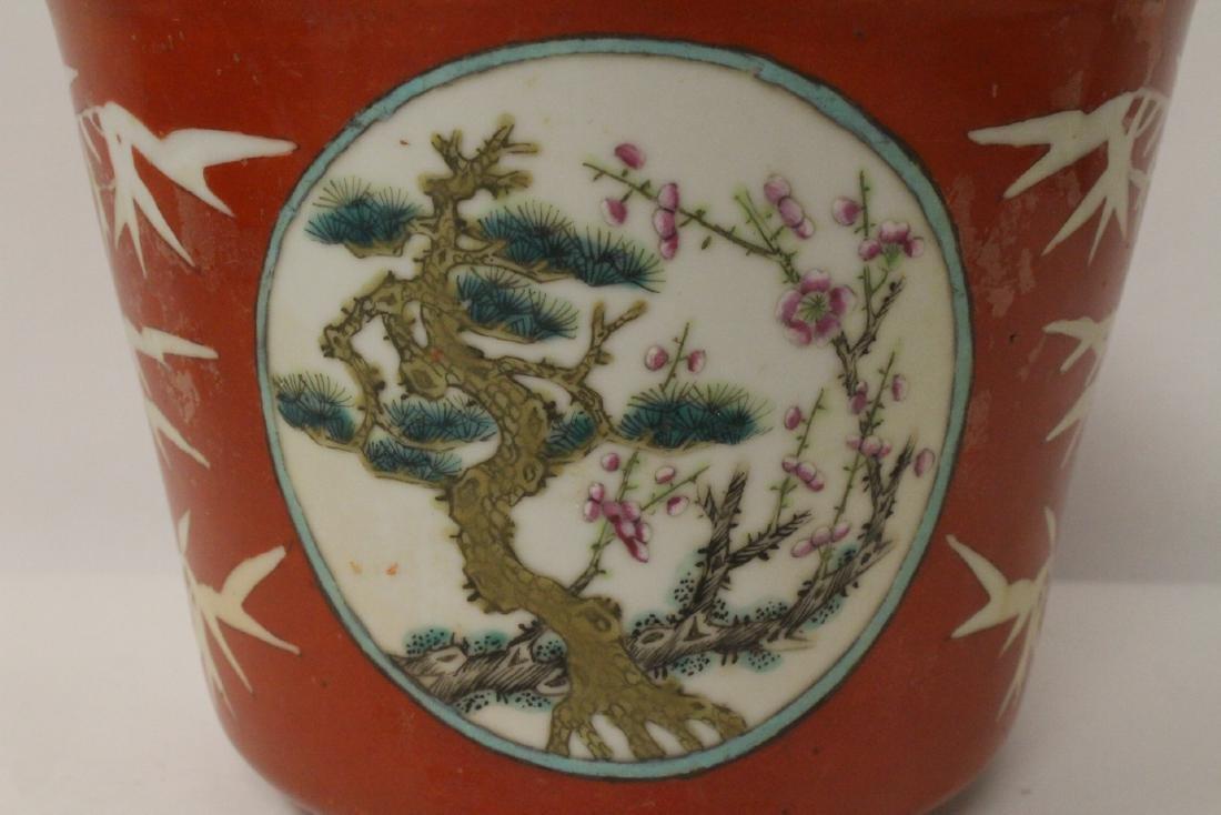 Pr Chinese antique famille rose porcelain planters - 9