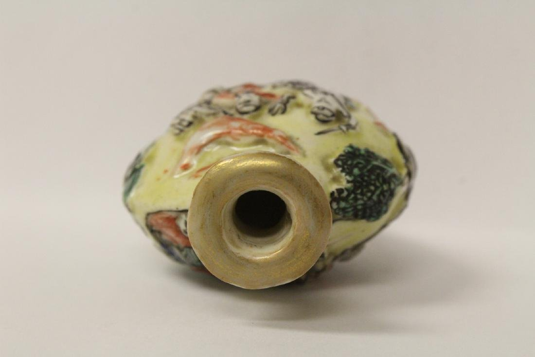 Chinese antique molded porcelain snuff bottle - 8