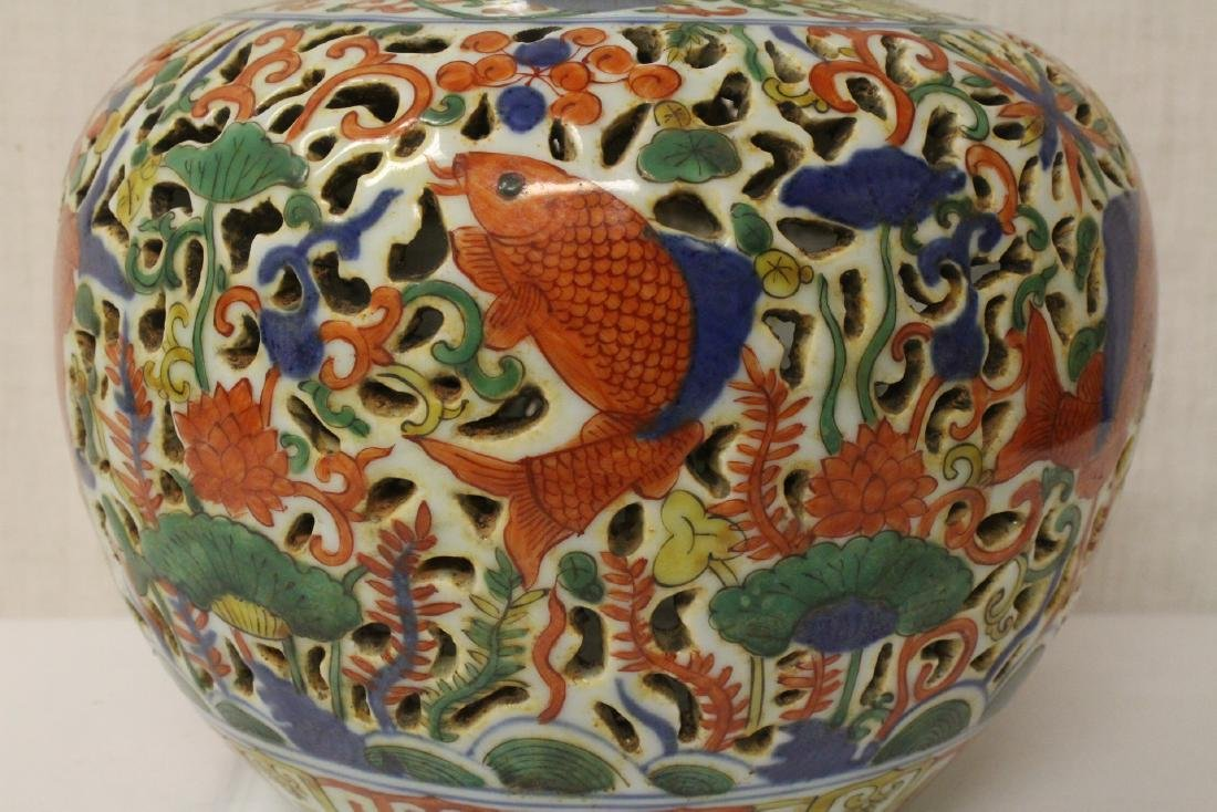 Chinese large wucai porcelain covered censer - 9