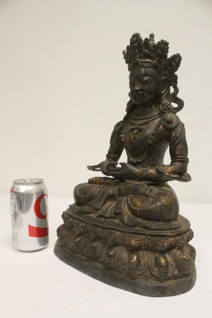 Chinese gilt bronze seated Buddha - 9