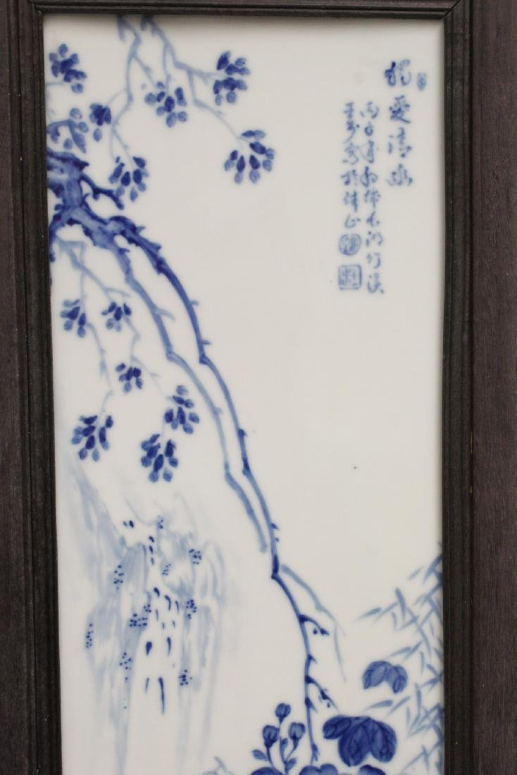 Pair Chinese blue and white porcelain plaques - 3
