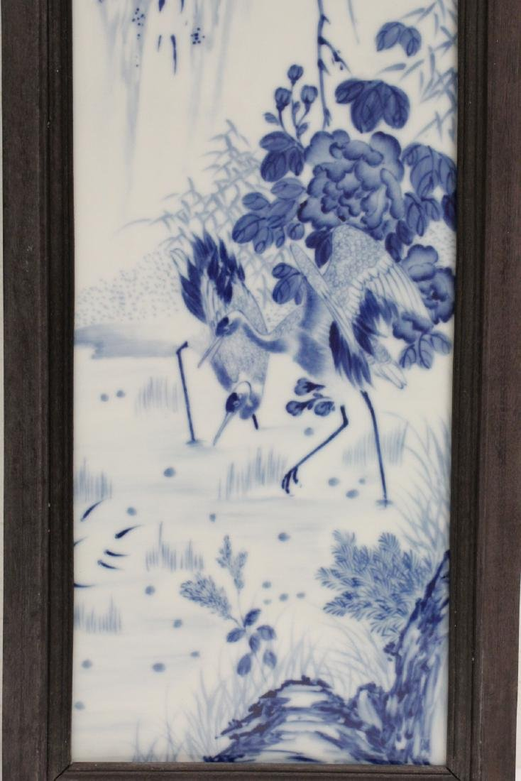 Pair Chinese blue and white porcelain plaques - 4
