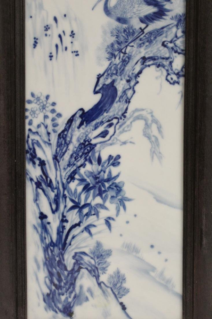 Pair Chinese blue and white porcelain plaques - 8